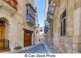 Stock Photo of Bishop Palace Street in Vittoriosa, Malta.