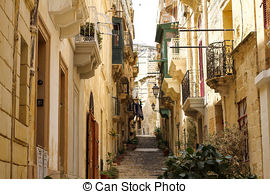 Stock Photo of Southwest Street in Vittoriosa (Birgu), Malta.