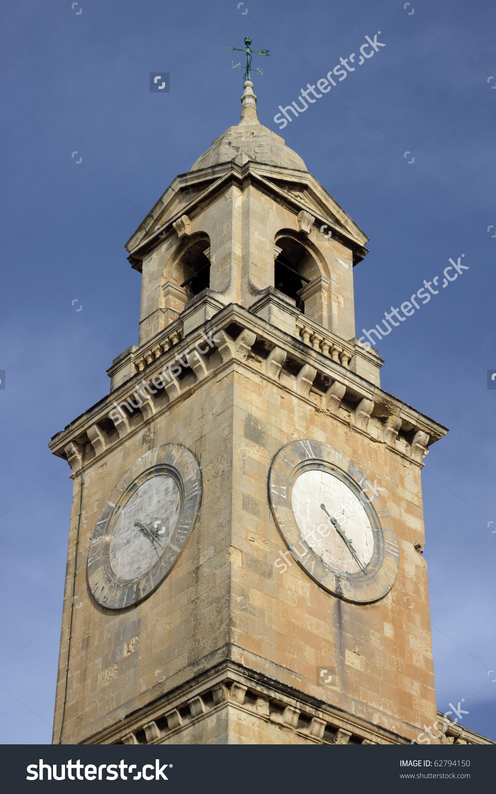 Clock Tower Of The Maritime Museum, In The Grand Harbour Of Birgu.