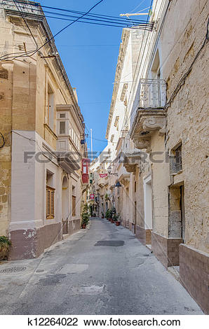 Stock Photo of Tabone Street in Vittoriosa, Malta k12264022.