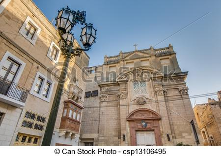 Stock Photographs of Santa Scholastica church in Vittoriosa (Birgu.