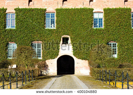 Castle Building Covered Ivy Stock Images, Royalty.