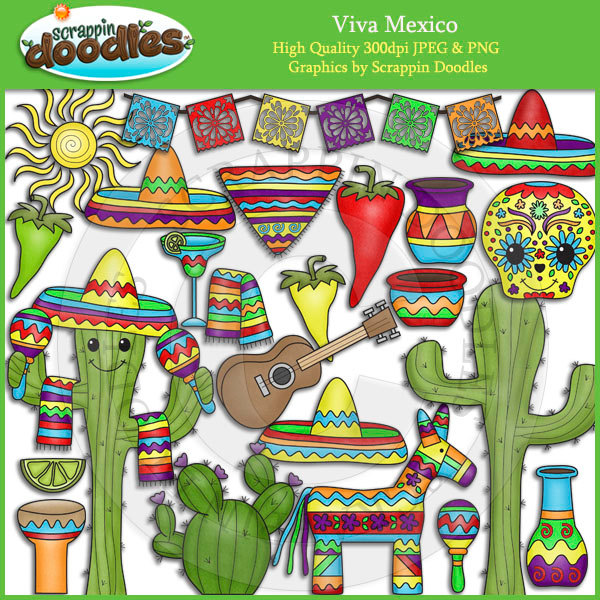 Viva Mexico Clip Art by ScrappinDoodles on Etsy.