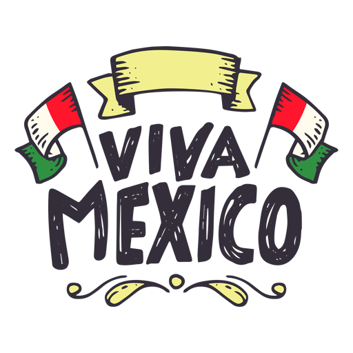 Viva mexico flag ribbon sticker.