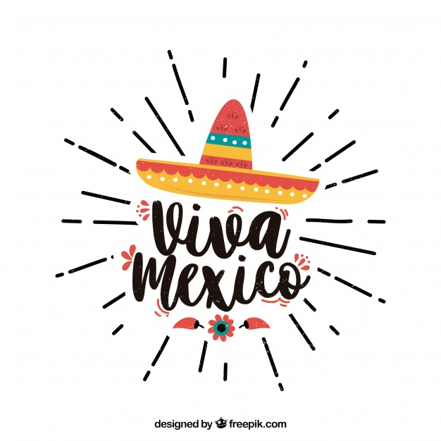 Viva mexico lettering background with hat Vector.
