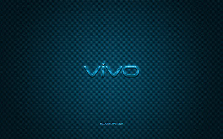 Download wallpapers Vivo logo, blue shiny logo, vivo metal.