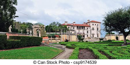 Stock Photographs of Miami Vizcaya museum garden view panorama.