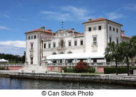 Stock Photo of View of Vizcaya Mansion in Miami with Dock.