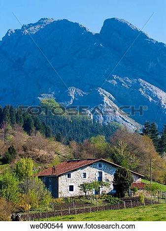 Stock Photo of Mount Untxillaitz (936 Mts) and farmhouse. Urkiola.