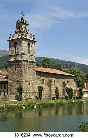 Stock Photo of Church of St. John on the River Cadagua, Balmaseda.