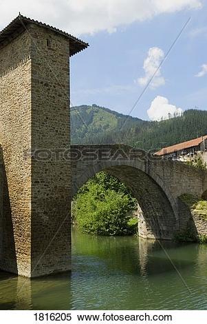 Stock Image of Puente Viejo, Muza Bridge, Balmaseda, Vizcaya, The.