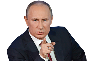 Putin face PNG image.