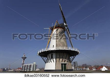 "Stock Photo of ""Oranjemolen, The Orange Windmill, dyke, Walcheren."