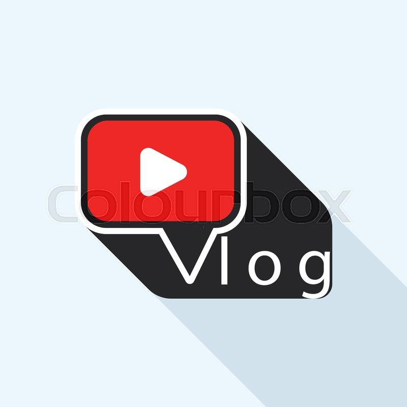 Modern vlog logo. Flat illustration of.