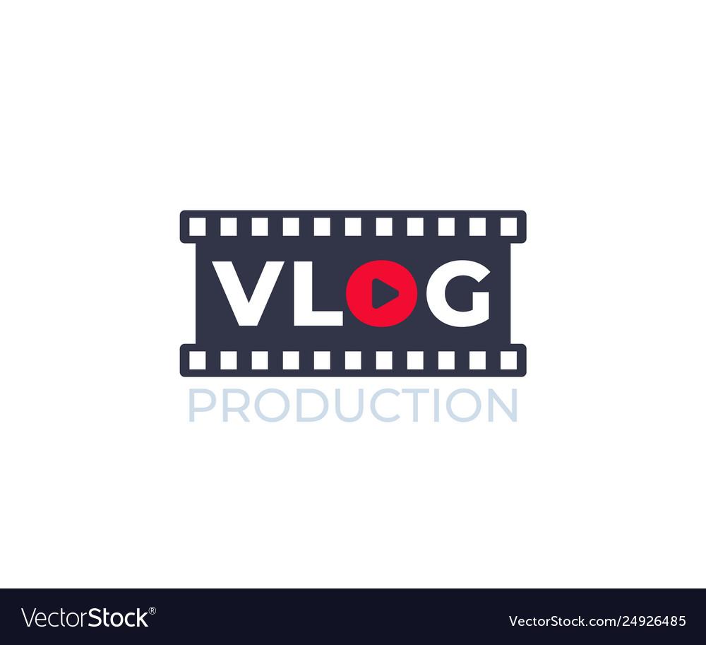 Vlog video blogging logo with film strip.