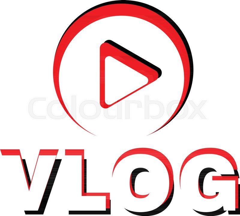 Play vlog logo. Flat illustration of.