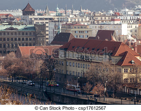 Stock Image of Prague's Vltava river waterfront, Czech Republic.