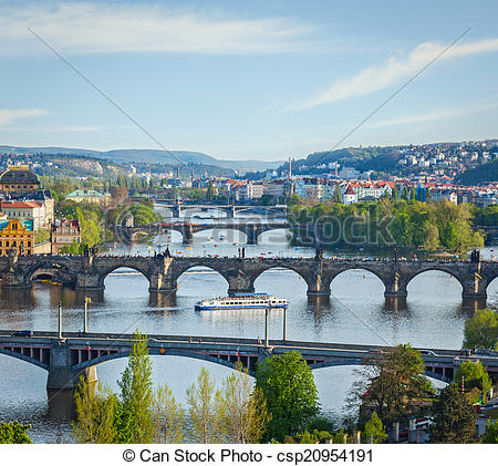 Stock Photographs of Panoramic view of Prague bridges over Vltava.