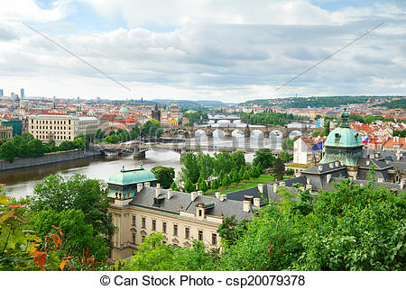 Picture of Prague and its multiple bridges across Vltava river.
