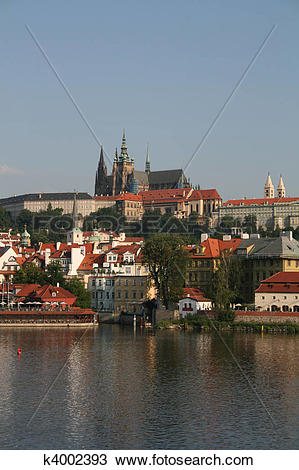Drawing of Prague Castle and Vltava River k4002393.