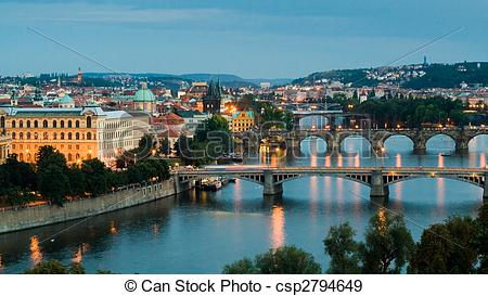 Stock Photographs of Prague and the Vltava River.