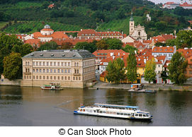 Stock Photography of Sitkovska water tower on Vltava river in.