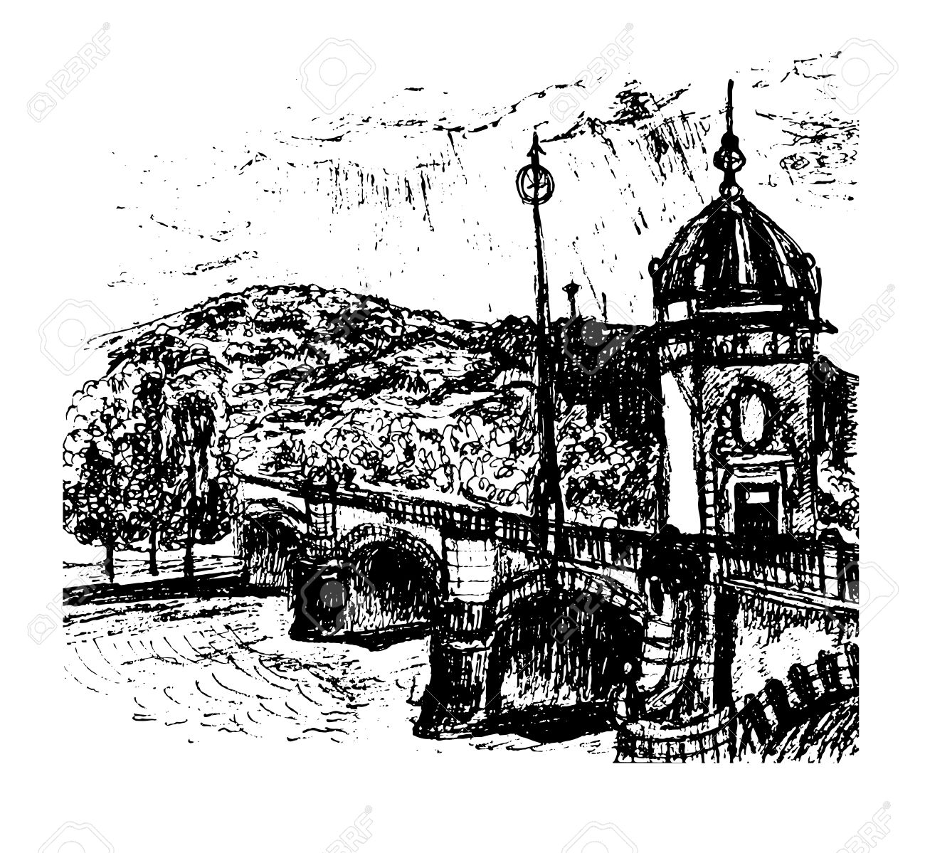View Of The Old Bridge With A Tower Over The Vltava River And.
