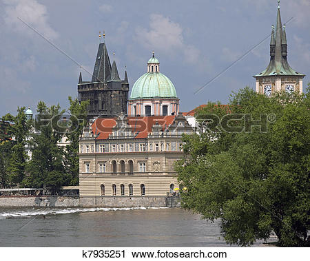 Clipart of Towers and Vltava River k7935251.