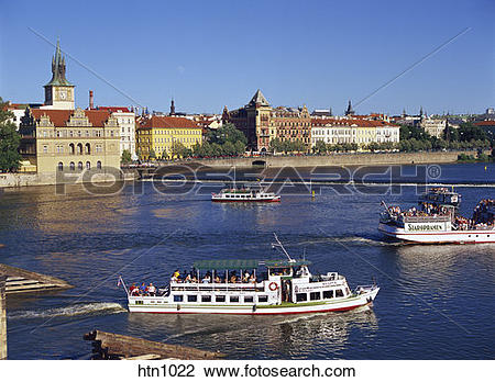 Stock Photo of Vltava River, Smetana Museum, Opera Mozart Theatre.