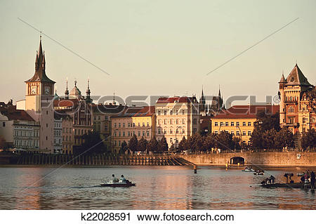 Clipart of Vltava river embankment k22028591.
