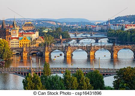 Stock Photographs of View of the Vltava River and the bridges.