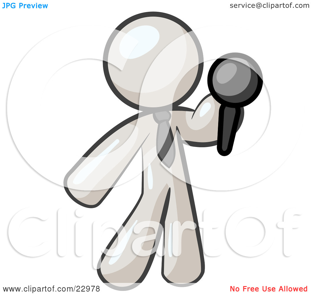 Clipart Illustration of a White Man, A Comedian Or Vocalist.
