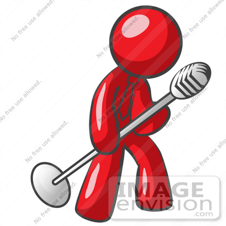 Clip Art Graphic of a Red Guy Character Singing Into a Microphone.