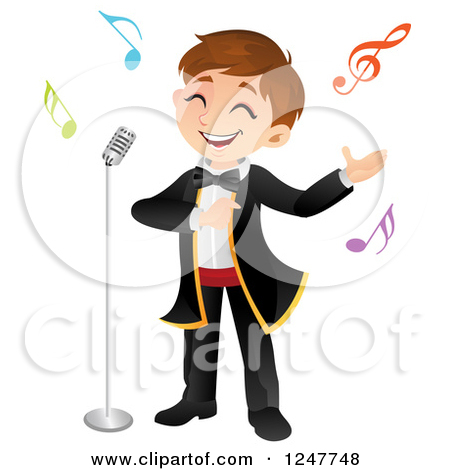 Clipart of a Boy Singing Opera.