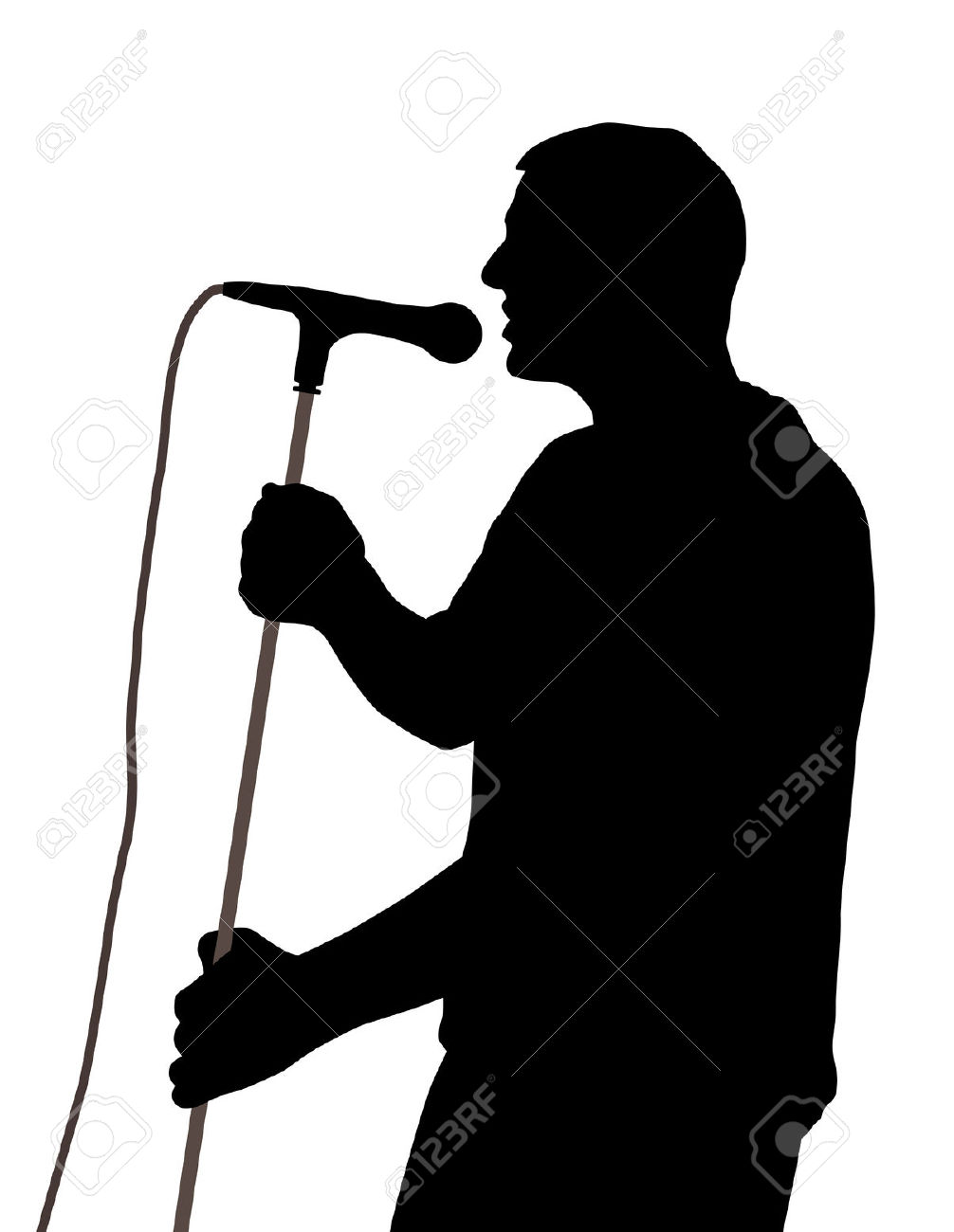 Man Singing Clipart Silhouette.