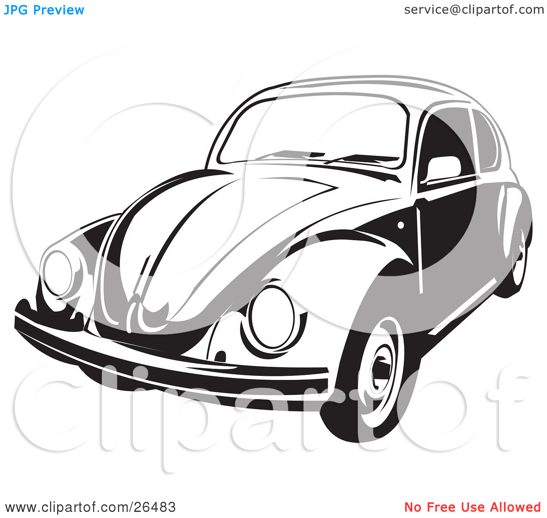 Volkswagen White Beetle Clip Art.