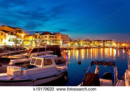 Stock Photography of Town of Vodice evening harbor view k19179620.