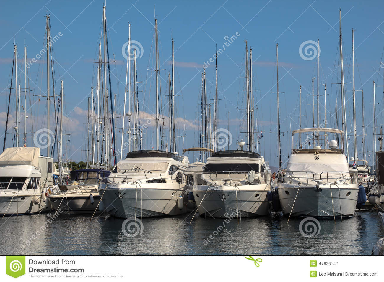 Vodice, Croatia, Marina View. Stock Photo.