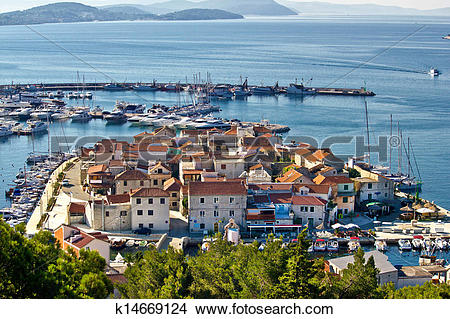 Stock Photo of Dalmatian town of Tribunj, Vodice aerial view.