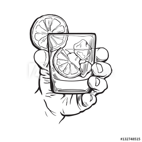 Hand holding glass of gin, vodka, soda water with ice and.