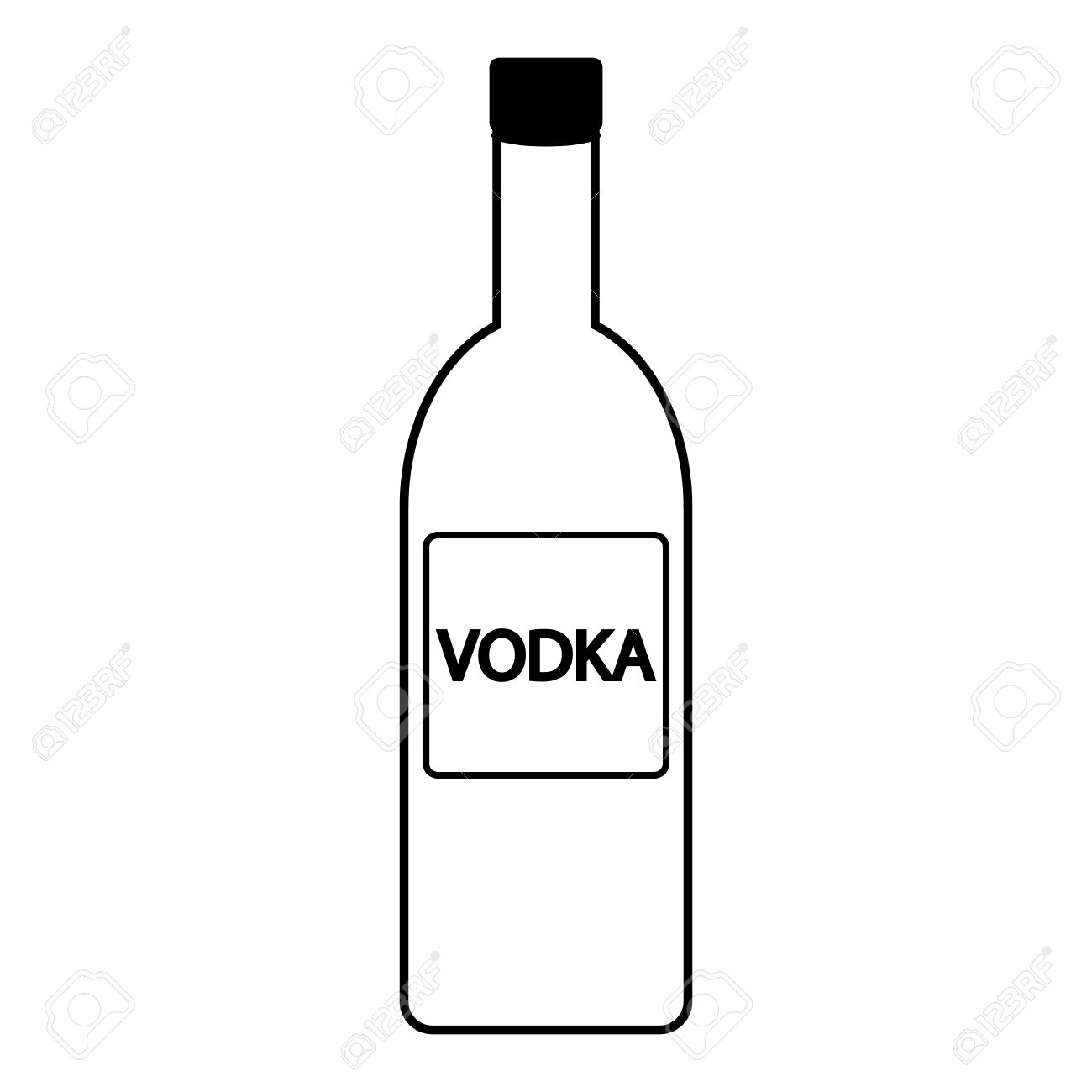 Vodka Bottle Icon On White Background. Royalty Free Cliparts.