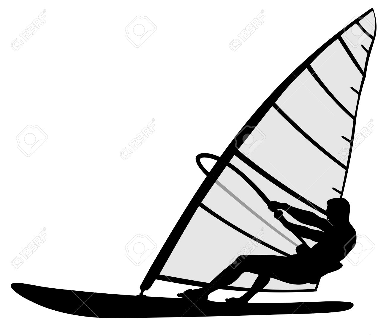 Abstract Illustration Of Wind Surfing Silhouette Man Royalty Free.