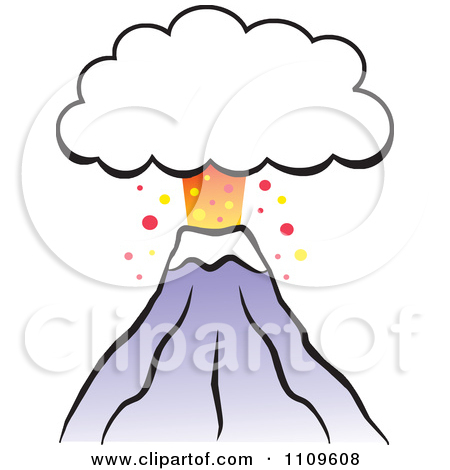 Clipart Volcano Erupting With An Ash Cloud Frame.