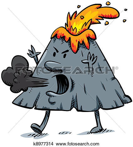Clip Art of Angry cartoon volcano k3784109.