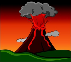 Animated Volcano Clipart.