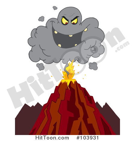 Volcano Clipart #103931: Evil Ash Cloud Above an Erupting Volcano.