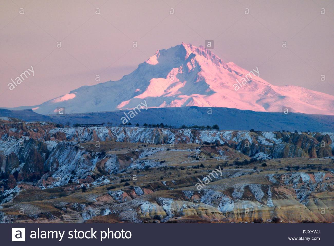 Snow Covered Volcanic 3916m Peak Of Mount Erciyes, Highest.