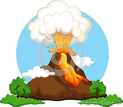 Erupting Cartoon Volcano Stock Illustrations.