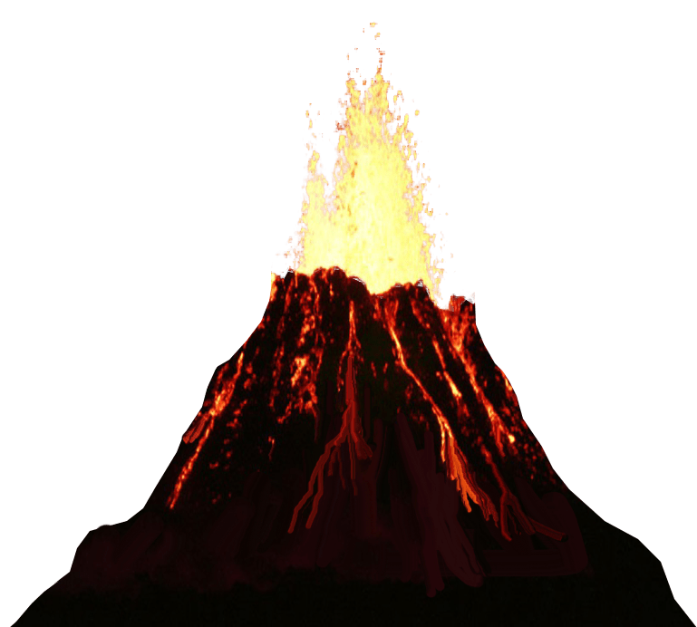 Volcano erupting no background PNG transparent image.