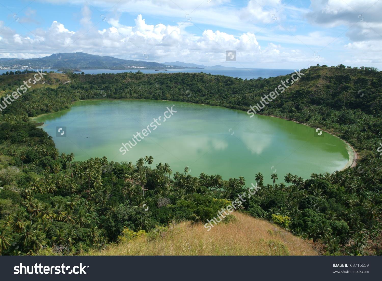 Volcano Lake Dziani On Mayotte Island Stock Photo 63716659.